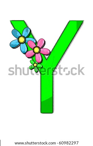 Of flower girl alphabet set is decorated with colorful flowers. each