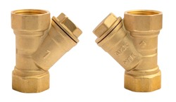 Y-Spring Check Valve. 1 inch brass spring assisted Y check valves. View of the front and back. With marks of technical characteristics: DN25, PN15, 1 inch. Isolated on a white background.