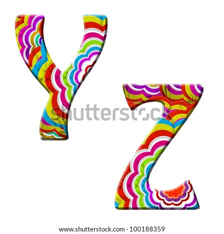Y, Z, Colorful wave font isolated on white.