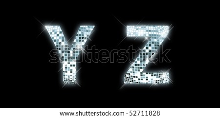 Y, Z -font made from a disco ball - stock photo