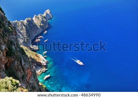 yacht and boat in sea gulf near alanya, turkey