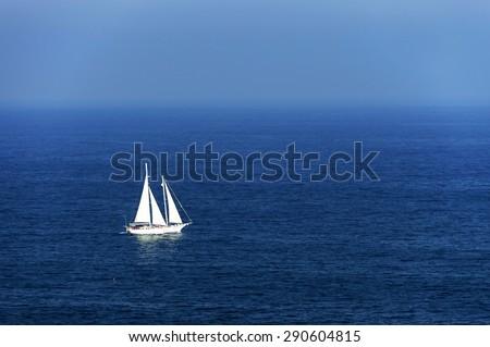 Yacht at open ocean