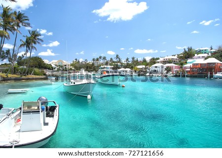 Yacht boats on blue sea water in tropical lagoon in Hamilton, Bermuda. Summer vacation and travelling. Luxury lifestyle concept Сток-фото ©