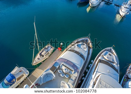 Yacht Club and the port on the outskirts of Barcelona, boats, yachts in the Sant Adria de Besos, Barcelona, Catalonia, Spain