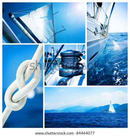 Yacht collage.Sailboat.Ya chting concept - stock photo