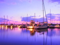 Yacht harbor on sunset time, New Nishinomiya yacht harbor.