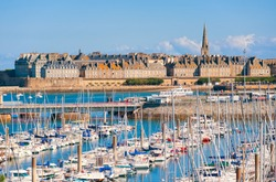 Yacht harbour and walled city of St Malo, Brittany, France