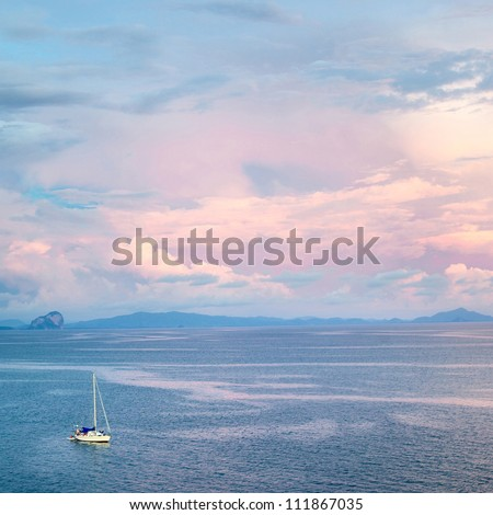 yacht in sea at sunset, aerial view, Thailand
