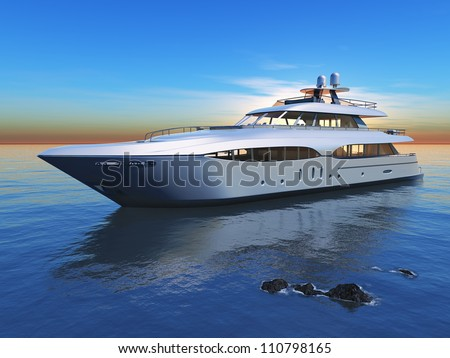 Yacht in the high sea