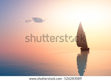Yacht in the sea at sunset,3d render