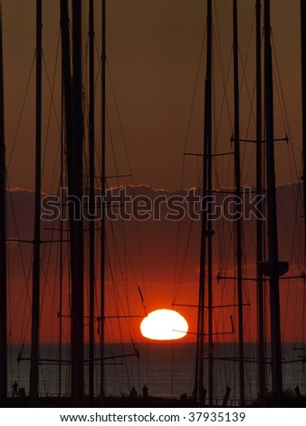 Yacht masts at sunset at Pirita, Tallinn, Estonia