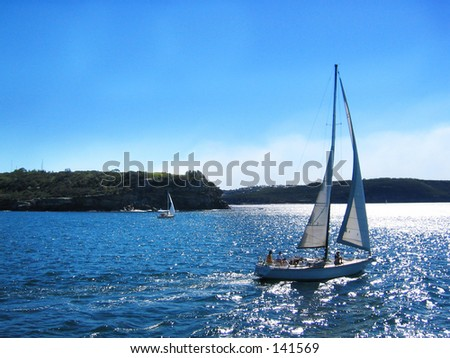 Yacht moving to sea