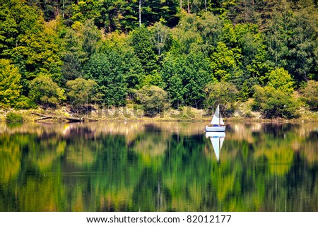 Yacht on a forested hill, Pilichowice in Poland