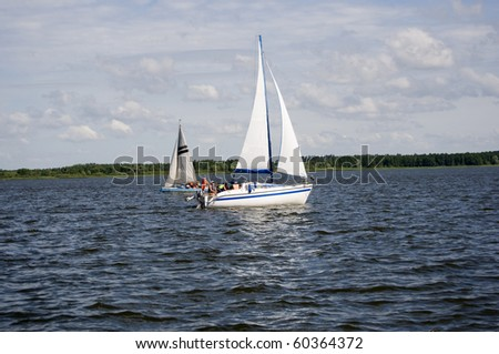 yacht on Sniardwy lake in Poland