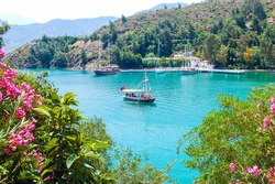 Yacht on the sea, beautiful bay in Turkey
