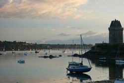 Yacht parking in the bay of Solidor at low  tide, Saint Malo, France