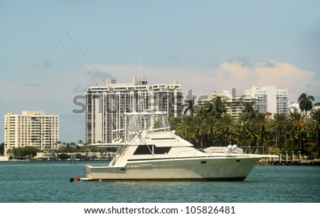 Yacht resting on the waterways of Miami, Florida