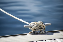 Yacht rope cleat detail image