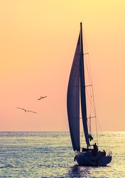 Yacht sailing against sunset. Holiday lifestyle landscape with skyline sailboat and two seagull. Yachting tourism - maritime evening walk. Romantic trip on luxury yacht during the sea sunset.