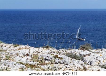 Yacht sailing along Portuguese Atlantic coast, seascape