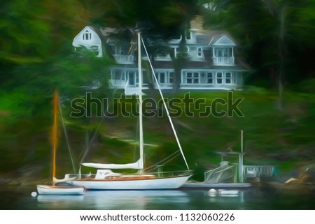 Yacht with tall mast and a small sailboat and dock near an inn or mansion on a hill overlooking a harbor in Maine, with digital oil-painting effect, for coastal, travel, and lifestyle themes