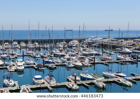 yachts and boats in coast marine in summer day #446183473