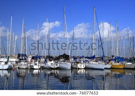 Yachts and boats in marina of Tel-Aviv (Israel) #76077652