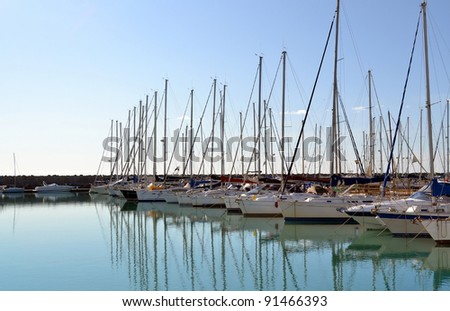 Yachts and boats in Ostia port, Rome Italy