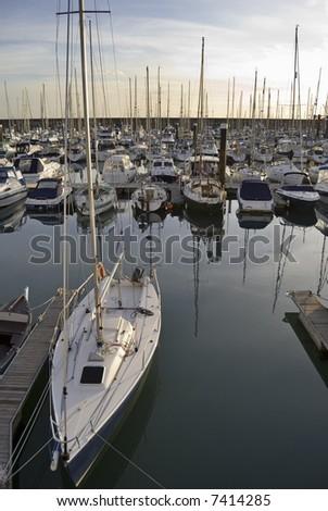 Yachts at Brighton Marina at dusk