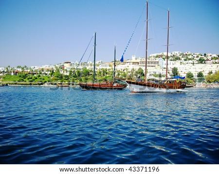 Yachts at coast of Aegean