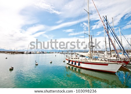 yachts at Ouchy port, Lake Geneva, Lausanne, Switzerland