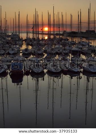 Yachts at sunset at Pirita, Tallinn, Estonia