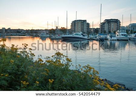 Yachts in a city bay, Thunder Bay, Ontario #542054479
