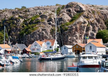 Yachts in a marina at the Swedish fishing village Fjällbacka on the west coast.