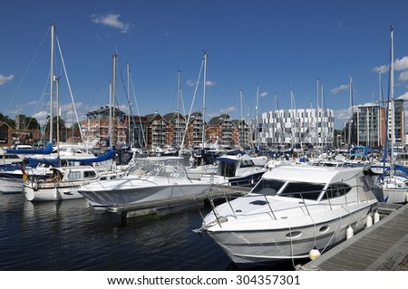 Yachts in Ipswich marina, Suffolk, UK. #304357301