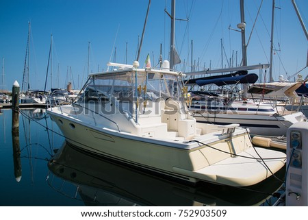 Yachts in the port waiting. Rimini, Italy. #752903509