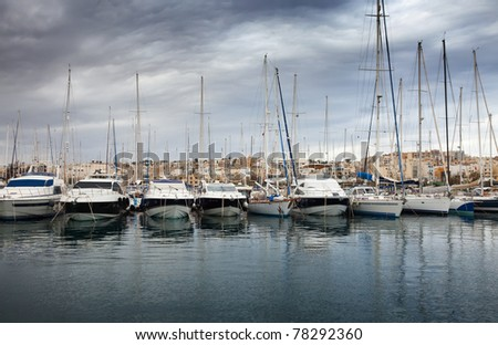 Yachts  lying at Marsamxett harbour (Valletta, Malta)