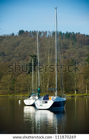 Yachts on Lake Windermere, Lake District National Park, Cumbria, England, United Kingdom, Great Britain, UK, Europe. Windermere is the largest natural lake in England - Ribbon Lake.