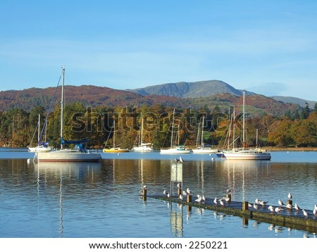 Yachts on Windermere in Autumn light