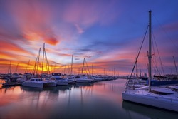 Yachts parking in the Adriatic harbour in croatia in sunset