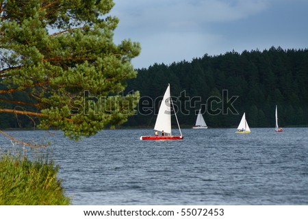 Yachts race on the lake