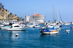 Yachts & sailboats moored at Avalon Harbor on Santa Catalina Island. Off the coast of Southern California