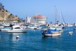 Yachts & sailboats moored at Avalon Harbor on Santa Catalina Island. Off the coast of Southern California