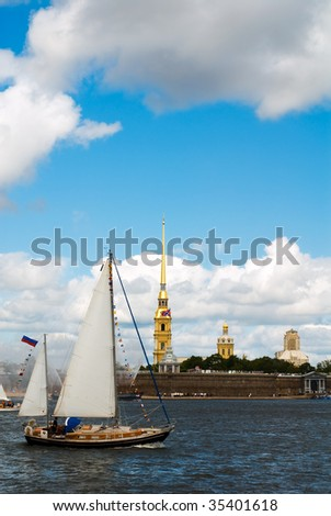 Yachts show in front of Peter and Paul Fortress at St.Petersburg, Russia