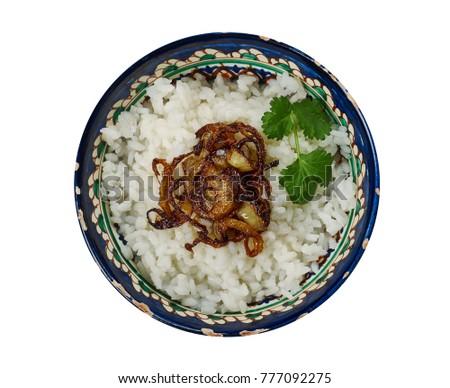 yagly shule - Turkmen porridge with rice and vegetable oil,  Central Asian cuisine Stock fotó ©