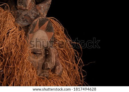 Yaka tribe ritual African mask Kholuka. Used in the ritual of initiation.  Stok fotoğraf ©