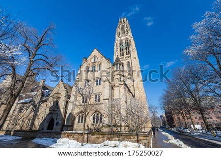 Yale university buildings in winter sunlight with snow and blue sky