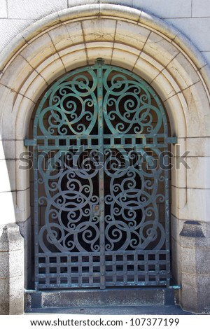 Yale University Doorway, Old Iron Gate, New Haven Connecticut