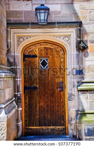 Yale University Doorway, Old Wooden Door, New Haven Connecticut