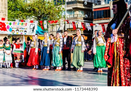Yalova, Turkey - April 21, 2018: Friendly local folklore festival and charity event to raise cultural awareness with participation of Balkan Countries without media and press involvement #1173448390